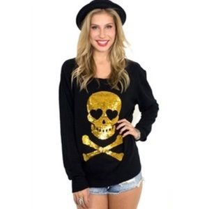 Wildfox black sweater gold sequin skull medium